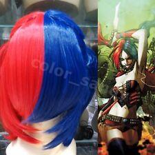 Neu Harley Quinn Glatt Kurzhaar Perücke Kostüm Kunsthaar Blau+Rot Cosplay Wig