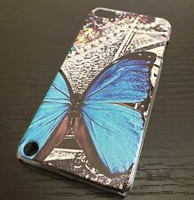 For iPod Touch 5th & 6th Gen - HARD BACK PROTECTOR SKIN CASE BLUE BUTTERFLY