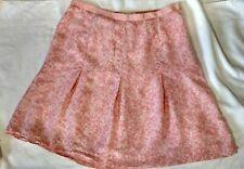 Banana Republic Size 16 Short Skirt Silk Swing Lined Pink Floral Roses Romantic