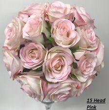 Silk Peony peonies pink bouquet posy flowers wedding premade bunch 5 head pinks