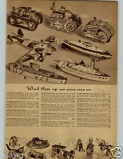 1942 PAPER AD Toy Wind-Up Battleship Bomber Tank Dumbo Mechanical Tractor Train