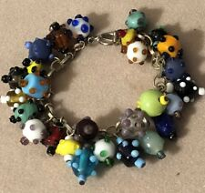 RARE ! Vintage Estate Venetian Lampwork Art Glass Bead Charm Bracelet Multicolor