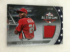 """JESUS AQUILAR ALL-STAR GAME STICHES"""" 2018 TOPPS 16/50 BREWERS BASEBALL CARD"""