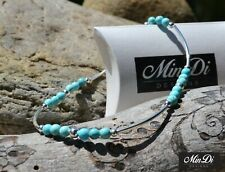Handmade Stretch Anklet With Genuine Sterling Silver & Turquoise Magnesite.