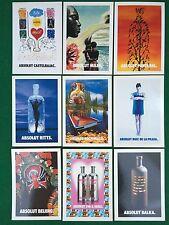 "Lotto 9 Cartoline Promocard ABSOLUT VODKA ""ARTISTS"" Castelbajac Balka Ritts ecc"