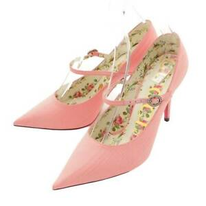 Authentic Gucci Pointed Toes Floral Heel Pumps Pink Size 36 1/2 Used Grade S