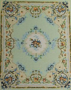 "8"" Larger 1:12 1:6 Dollhouse Fresh Blue European Style Floral Aubusson Rug"