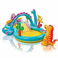 Kids Dino Inflatable Play Center Out Door Kiddie Pool Water Slide Toy Boy Girl
