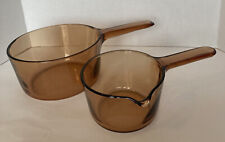 Vision Corning Ware 1 L and 1.5 L Sauce Pans/  Pots Amber Brown No Lids