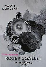 PUBLICITE PARFUM PAVOTS D'ARGENT ROGER & GALLET JM FARINA DE 1929 FRENCH AD PUB