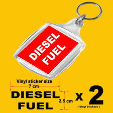 1 x Fuel Reminder Keyring and 2 x Fuel Cap/Flap Vinyl Stickers For DIESEL FUEL