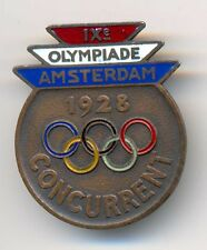 Amsterdam Olympic Games 1928 Official Participation Concurrent Enamel Badge RARE