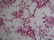 Ralph Lauren Curtain Fabric Ashfield Floral Sheer 1.0m Vintage Wine Linen 100cm