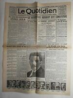 N284 La Une Du Journal Le quotidien 15 juin 1924 Émile Zola