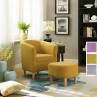 Modern Arm Accent Chair Upholstered Linen Fabric Single Sofa With Ottoman 3color
