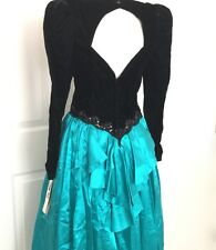 80s Prom Dress Vintage S M Scott McClintock Green Black Wicked Cosplay Costume