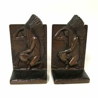 1920's Native American Indian Chief Bronze Bookends