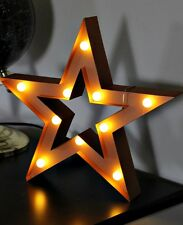 LED Metal Copper Industrial Cut Out Standing Star Ornament Plaque Table Lamp