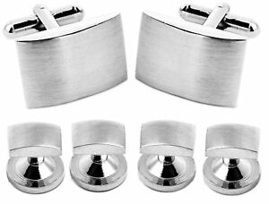 Black Tie Collection Brushed Silver Men's Tuxedo Cufflinks and Dress Shirt Studs
