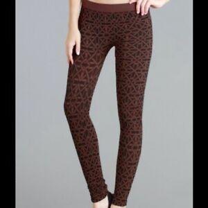 NEW Brown Geometric Pattern Ultra Soft and Stretchy Leggings by Nikibiki