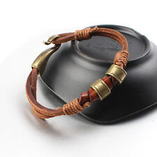 Women Mens Surfer Cool Hemp Cords PU Leather Wrap Bracelet Wristband Cuff Brown