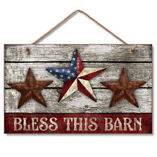 BLESS THIS BARN, Star Americana,Rustic Wooden Wood Sign Plaque Highland Graphics