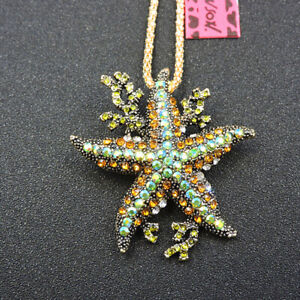 Betsey Johnson AB Green Crystal Starfish Animal Pendant Chain Necklace/Brooch