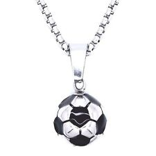 """Soccer Ball Pendant Football Necklace Stainless Steel 2 mm Box Chain 20"""" SSPN004"""