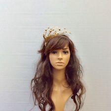 Gold Bead & Swarovski Crystal Fascinator / Headpiece