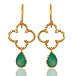 Flower Designer Green Onyx 925 Silver Gold Plated Womens Earrings Jewelry