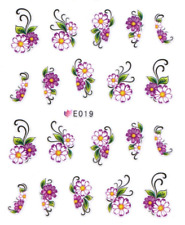 Nail Art 3D Sticker Water Decals Transfers Pink Purple Flowers (E019)
