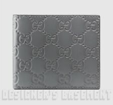 d5c42cbd35d GUCCI Mens steel Gray leather GUCCISSIMA embossed Bifold wallet NIB Authent   350
