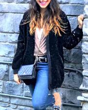 Zara terciopelo chaqueta de terciopelo chaqueta cazadora lentejuelas Sequin Velvet bombarderos Jacket S M