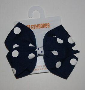 New Gymboree Girls Blue White Polka Dot Bow Barrette Clip Hair Accessory NWT