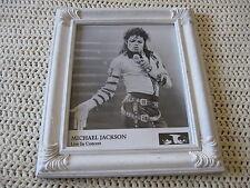 """White Framed Photo Of Michael Jackson On Stage """"Bad"""" Era"""