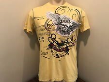 Marc ecko cut & sew mens tshirt cotton crew neck skull short sleeve small yellow