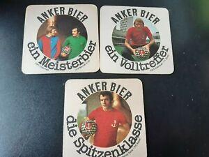 3 alte Bierdeckel Anker Bier Fußball football Schweiz Kunz Serie FC Basel