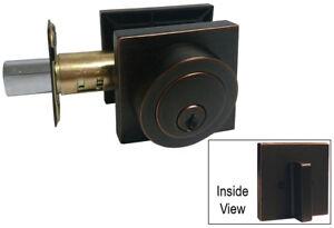 Oil Rubbed Bronze Square Plate Single Deadbolt Door Handle knob Lock lockset