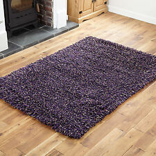 Small Medium Large 7cm Thick Pile Wool Shaggy Multi Color Clearance Rugs 170x240cm Lilac