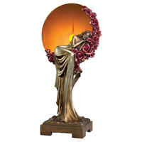 Romantic Victorian Maiden Lady Sculpture Light Bed of Roses Hued Table Lamp NEW