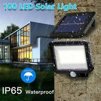 100 LED Solar Power COB PIR Motion Sensor Wall Light Outdoor Garden Path Lamp