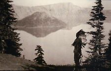 Klamath Indian Chief, Crater Lake Oregon, Native American, War Bonnet - Postcard