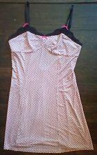 NEW Betsey Johnson Chemise Nightgown Slip pink & black polka dotsl Size Large