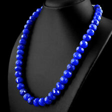 596.00 CTS EARTH MINED RICH BLUE SAPPHIRE ROUND FACETED BEADS HAND MADE NECKLACE