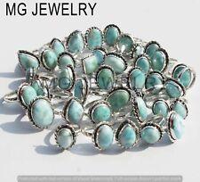 10 Pcs Lot Natural Larimar Gemstone 925 Silver Plated Rings MF-530