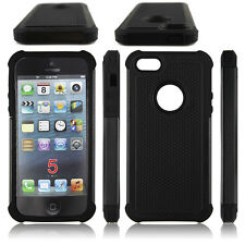for iPhone 5 5S case cover black 3 layers rugged hybrid heavy duty