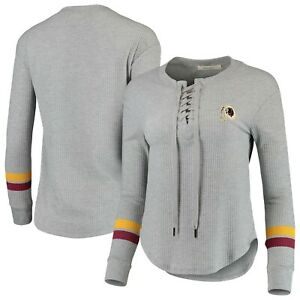 Washington Redskins Junk Food Women's Team Logo Thermal Lace-Up V-Neck Shirt, XL