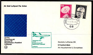 Germany 1975 Lufthansa First Flight,Saarbrucken To Frankfurt - Mint