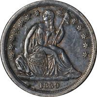 1839-P Seated Liberty Dime 'No Drapery' Nice AU Strong Strike