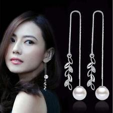 Fashion Ladies Jewelry Boho 925 Silver Crystal Pearl Tassels Threader Earrings